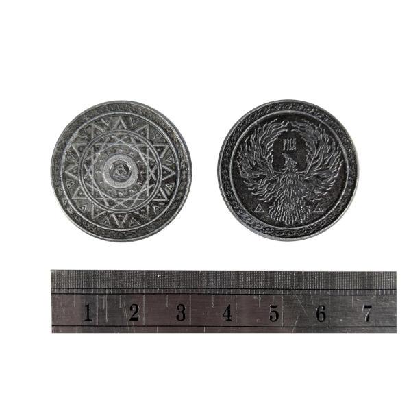 Fantasy Themed Gaming Coins Magic Silver (Broken Token) measurements.