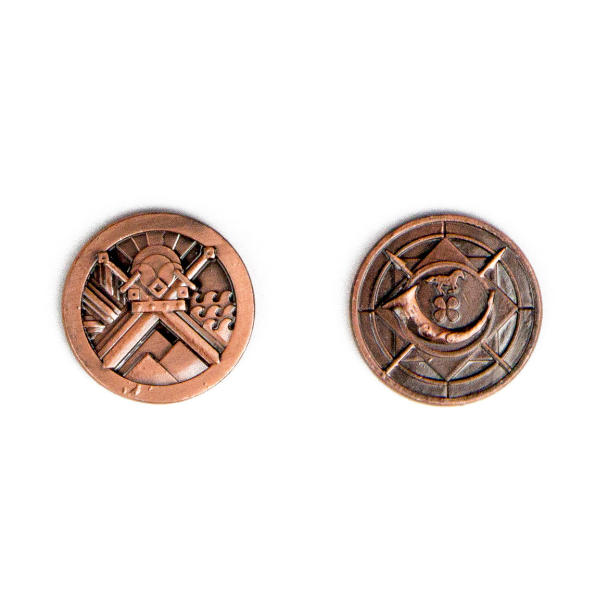 Fantasy Themed Gaming Coins Rangers Copper (Broken Token) back and front.