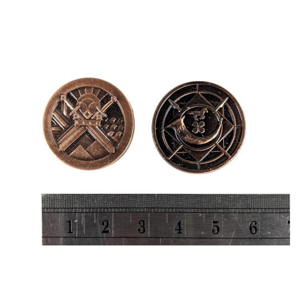 Fantasy Themed Gaming Coins Rangers Copper (Broken Token) measurements.