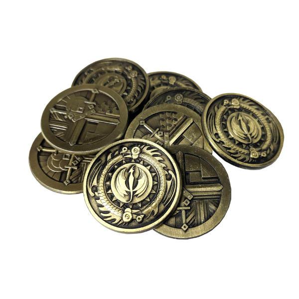 Fantasy Themed Gaming Coins Rangers Gold (Broken Token) stack.