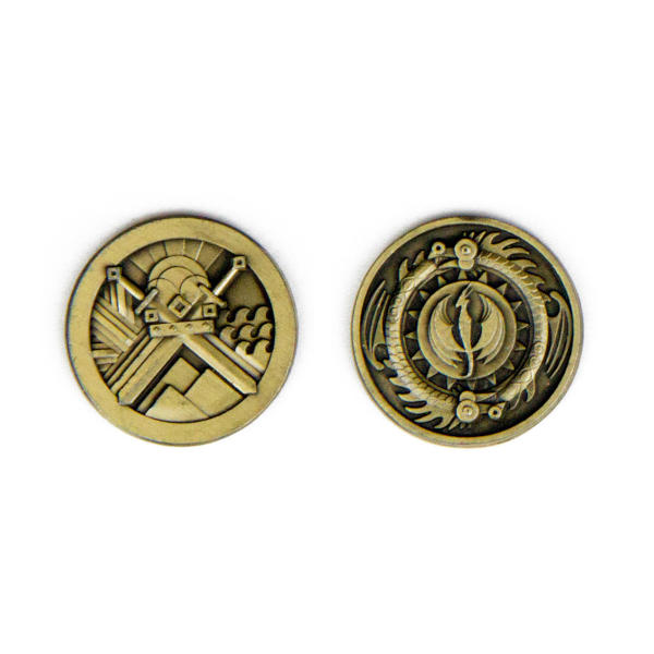 Fantasy Themed Gaming Coins Rangers Gold (Broken Token) back and front.