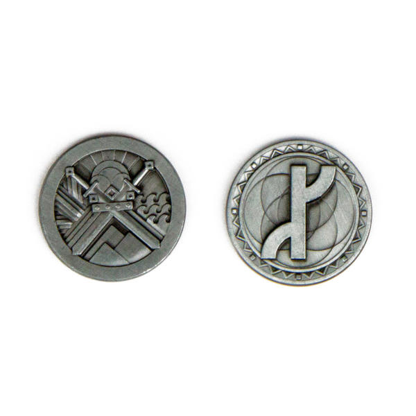 Fantasy Themed Gaming Coins Rangers Silver (Broken Token) back and front.