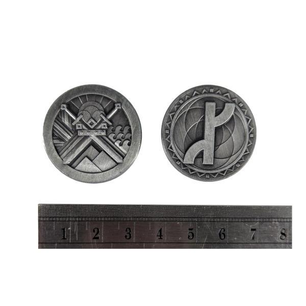 Fantasy Themed Gaming Coins Rangers Silver (Broken Token) measurements.