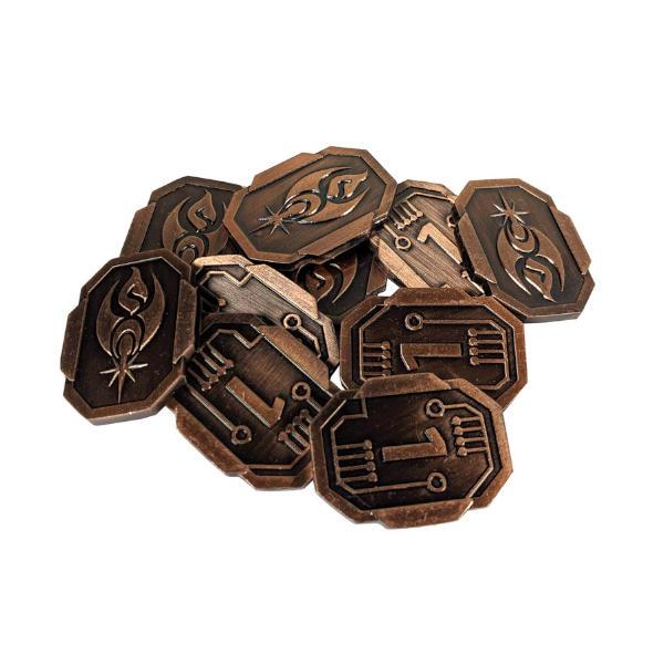 Fantasy Themed Gaming Coins SCI-FI 1 Credit (Broken Token) stack.