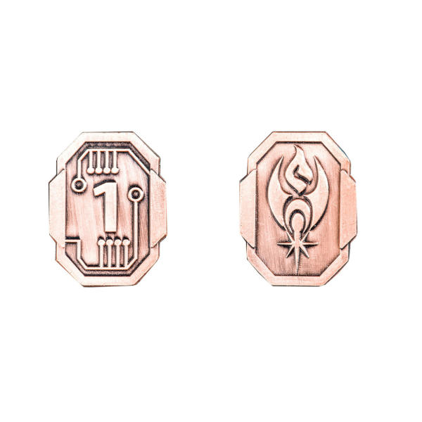 Fantasy Themed Gaming Coins SCI-FI 1 Credit (Broken Token) back and front.