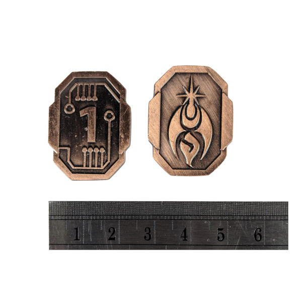 Fantasy Themed Gaming Coins SCI-FI 1 Credit (Broken Token) with ruler.