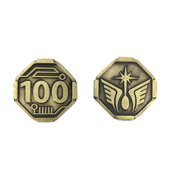 Fantasy Themed Gaming Coins SCI-FI 100 Credits (Broken Token) back and front.