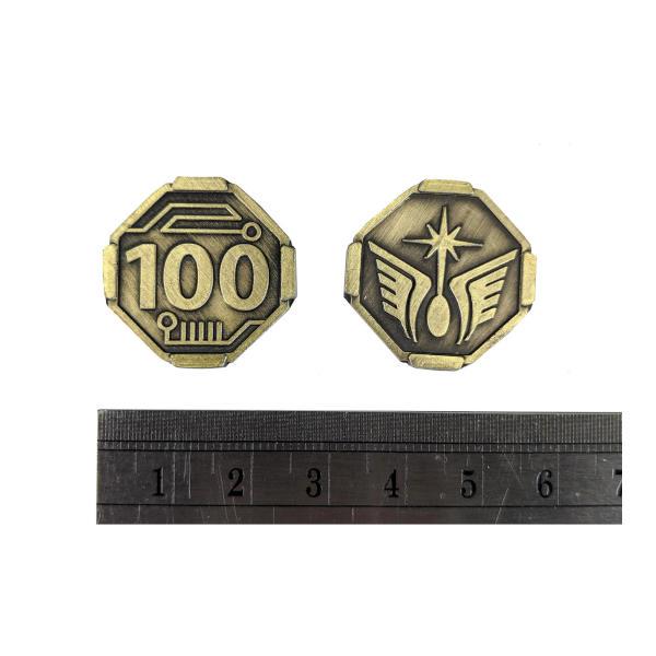 Fantasy Themed Gaming Coins SCI-FI 100 Credits (Broken Token) measurements.