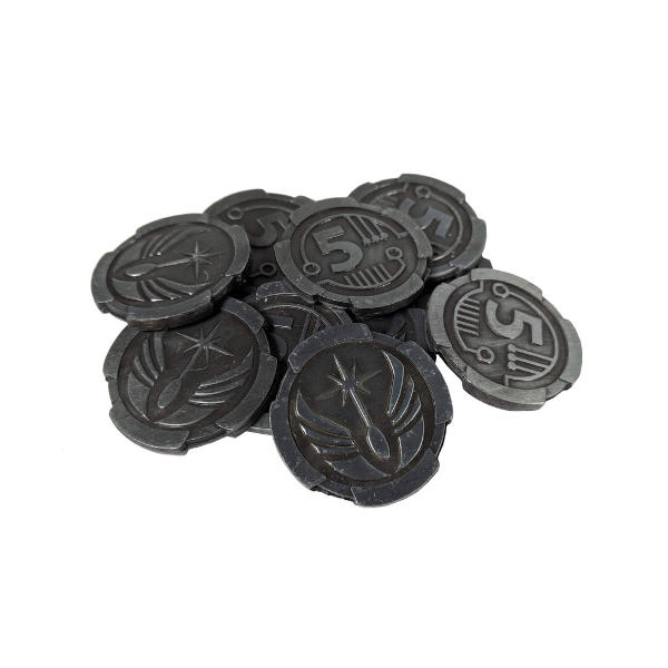 Fantasy Themed Gaming Coins SCI-FI 5 Credits (Broken Token) stack.