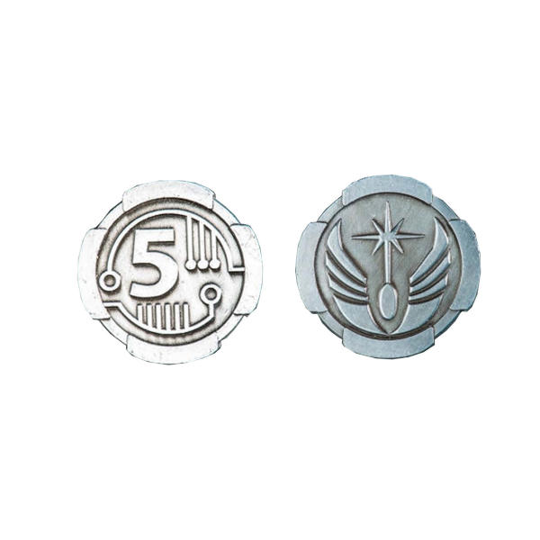 Fantasy Themed Gaming Coins SCI-FI 5 Credits (Broken Token) front and back.