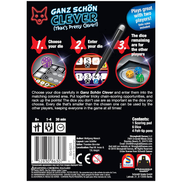 Ganz Schon Clever Board Game back cover.