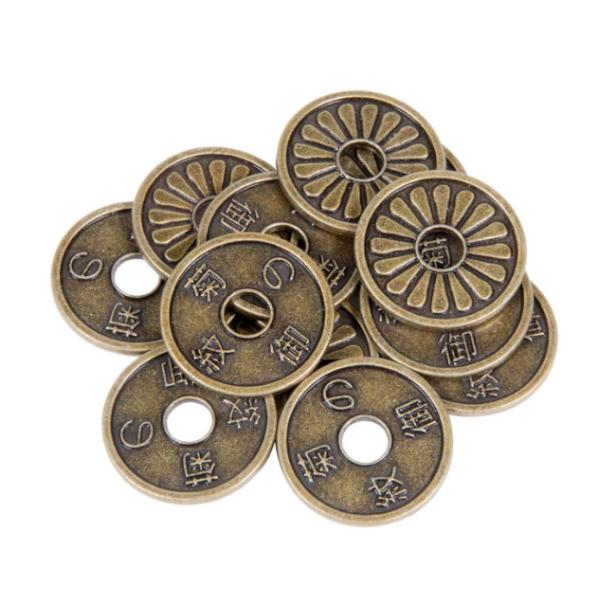 Japanese Themed Gaming Coins Medium 25mm (Broken Token) stack.