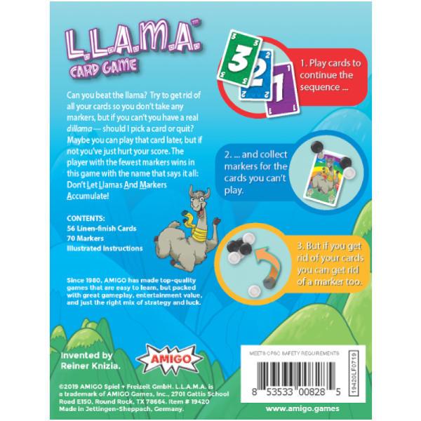 LLAMA Card Game back cover.