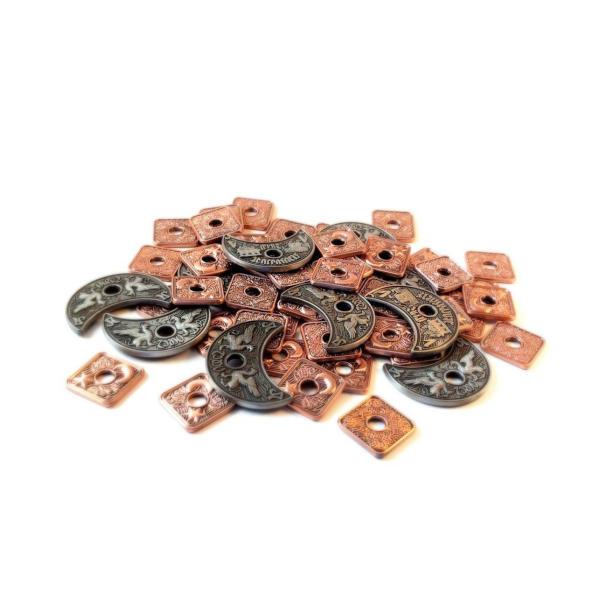 Lords of Waterdeep Metal Coins - Broken Token Deepwater Coin Set stack.