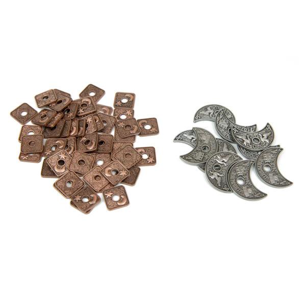 Lords of Waterdeep Metal Coins - Broken Token Deepwater Coin Set square and moon stacks.