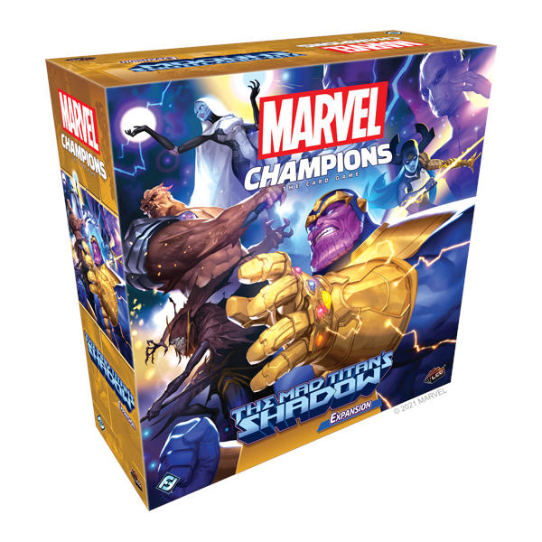 Marvel Champions the Mad Titans Shadow Campaign Expansion box cover.