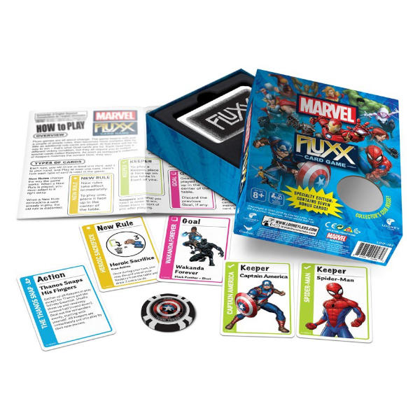 Marvel Fluxx Card Game box cover and components.