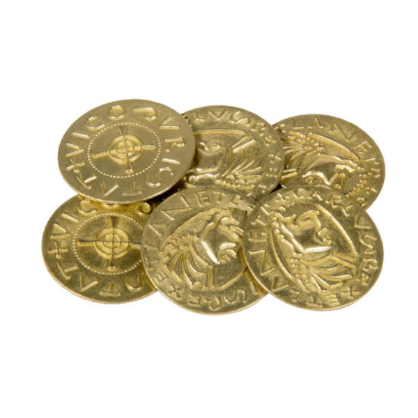 Middle Ages Themed Gaming Coins Jumbo 35mm (Broken Token) stack.