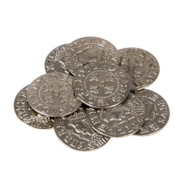 Middle Ages Themed Gaming Coins Large 30mm (Broken Token) stack.