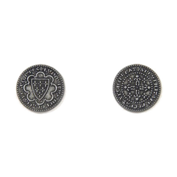Middle Ages Themed Gaming Coins Small 20mm (Broken Token) back and front.