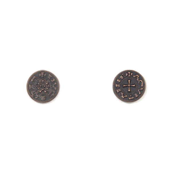 Middle Ages Themed Gaming Coins Tiny 15mm (Broken Token) back and front.