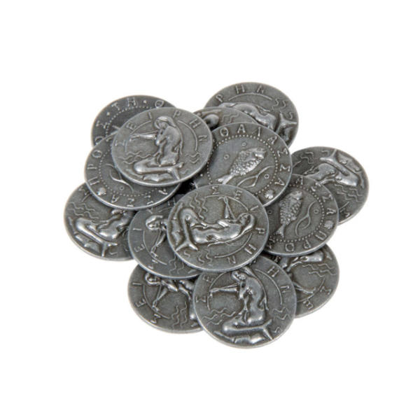 Mythological Creatures Themed Gaming Coins Small 20mm (Broken Token) stack.