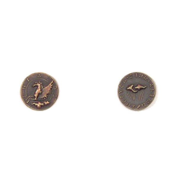 Mythological Creatures Themed Gaming Coins Tiny 15mm (Broken Token) front and back.