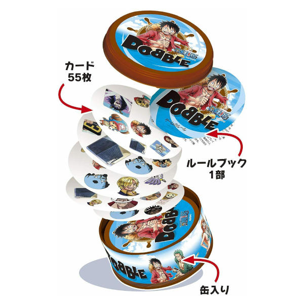 One Piece Dobble card game components.