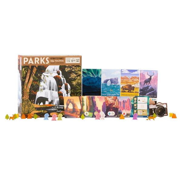 Parks Board Game box cover and components.