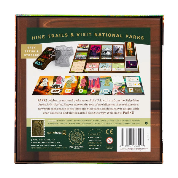 Parks Board Game back of box cover.