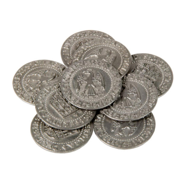 Renaissance Themed Gaming Coins Large 30mm (Broken Token) stack.