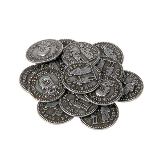 Renaissance Themed Gaming Coins Small 20mm (Broken Token) stack.