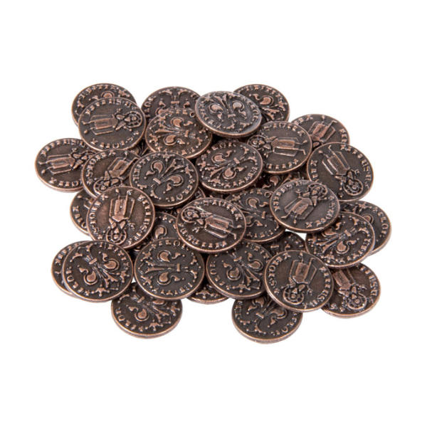Renaissance Themed Gaming Coins Tiny 15mm (Broken Token) stack.