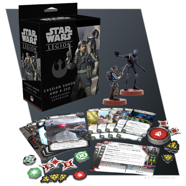 Star Wars Legion Cassian Andor and K-2SO Commander Expansion box and components.