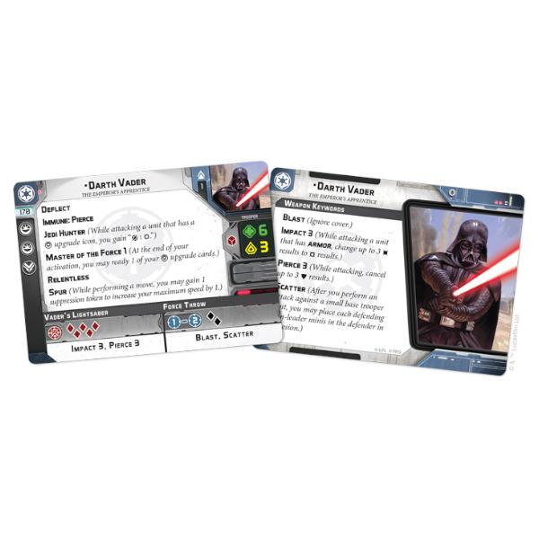 Star Wars Legion Darth Vader Operative Expansion cards.