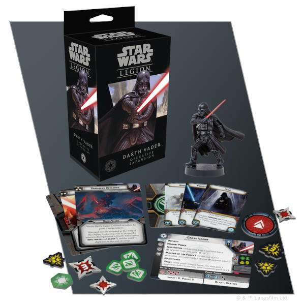 Star Wars Legion Darth Vader Operative Expansion box and component spread.