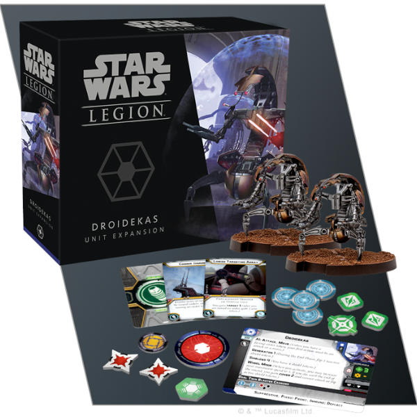 Star Wars Legion Droidekas Unit Expansion box cover and spread.