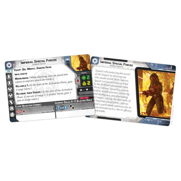 Star Wars Legion Inferno Squad Unit Expansion card fan.