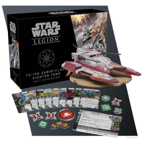 Star Wars Legion TX-130 Saber Class Fighter Tank Unit Expansion box cover and component spread.