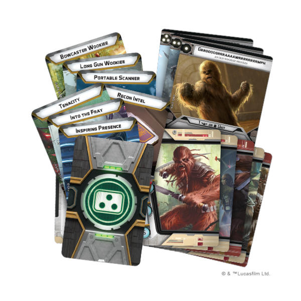Star Wars Legion Wookiee Warriors Unit Expansion cards.