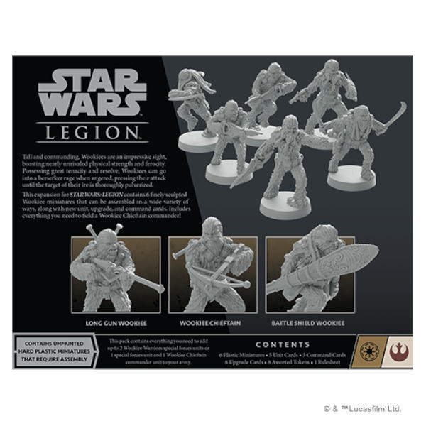 Star Wars Legion Wookiee Warriors Unit Expansion back of box.