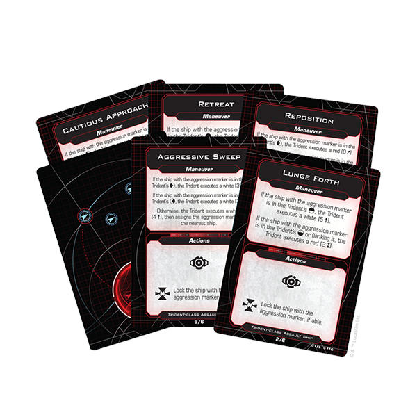 Star Wars X Wing 2nd Edition Trident Class Assault Ship cards.
