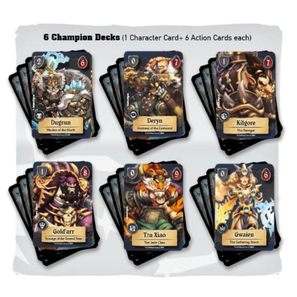 Super Fantasy Brawl Board Game Core Set components..