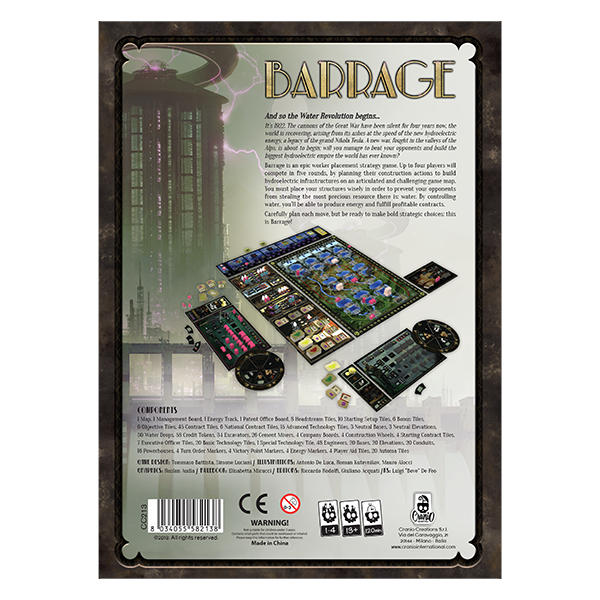 Barrage Board Game back of box cover.