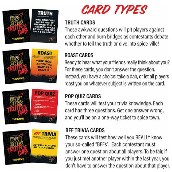 Hot One Truth or Dab the Game cards.