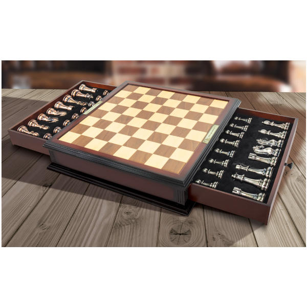Kasparov Grandmaster Chess Set on table opened.
