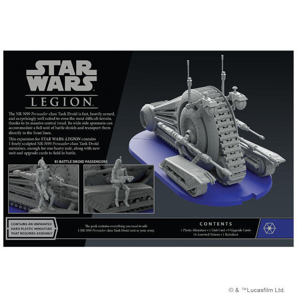 Star Wars Legion NR-N99 Persuader-Class Tank Droid Unit Expansion back of box.