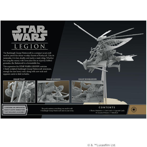 Star Wars Legion Raddaugh Gnasp Fluttercraft Unit Expansion back of box.