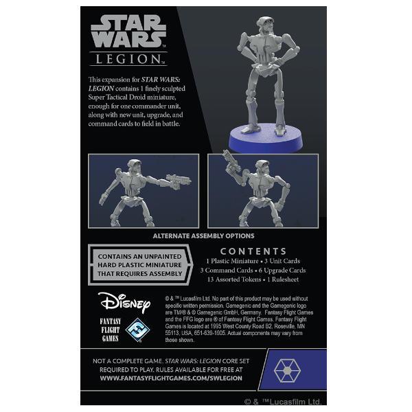 Star Wars Legion Super Tactical Droid Commander back of box.
