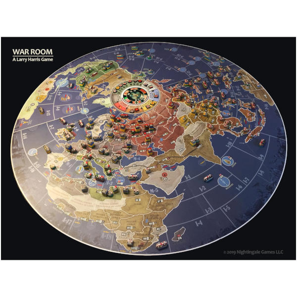 War Room Board Game 2nd Edition components and map.